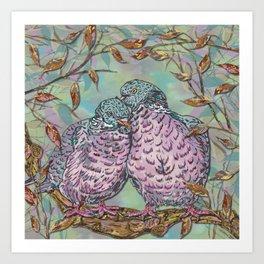 Loving Woodpigeons Art Print