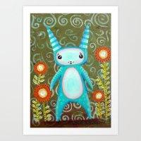 Blue Alien Bunny Art Print