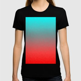 Cyan to red ombre flames Miami Sunset T-shirt