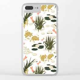 Asian floral illustration pattern I Clear iPhone Case