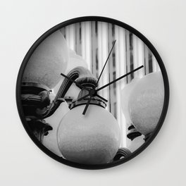 Urban Light at LACMA Los Angeles California USA in black and white Wall Clock