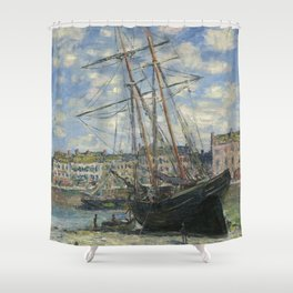 Claude Monet - Boats Lying at Low Tide at Facamp Shower Curtain