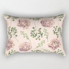 Rose Pattern Light Pink + Green Rectangular Pillow