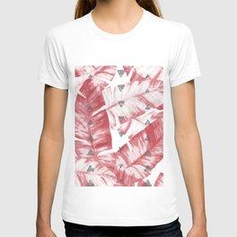 Dusty Rose Tropical Banana Leaves Arrows Design T-shirt