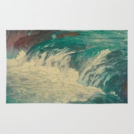 Rapids at the Upper Reaches of Tone River Vintage Beautiful Japanese Woodblock Print Hiroshi Yoshida Rug