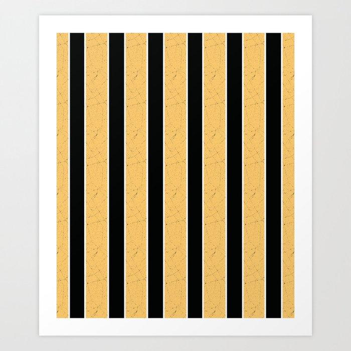 Simple Yellow Black Stripes Art Print