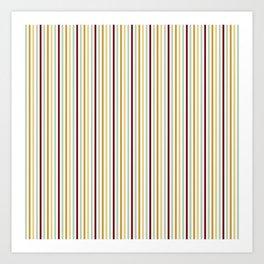 Burgundy yellow mint green geometrical stripes Art Print