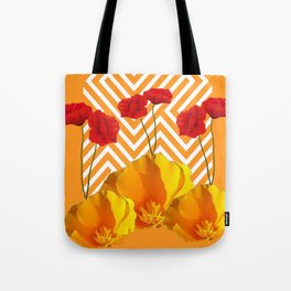 YELLOW & RED  POPPIES MODERN GOLDEN PATTERNS Tote Bag