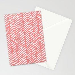 Geometric Art, Herringbone, Coral, Wall Art Boho Stationery Cards