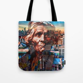 Ghost Tribe Native Americans in New York Sepia Tote Bag