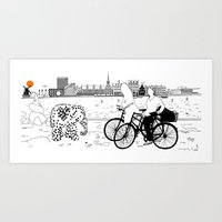 copenhagen Art Prints featuring Copenhagen by sarknoem