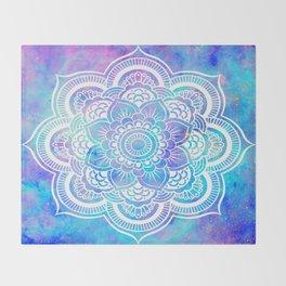 Mandala Pink Lavender Aqua Galaxy Space Throw Blanket