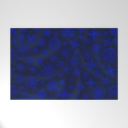 Shower of Sapphire Snowflakes Welcome Mat