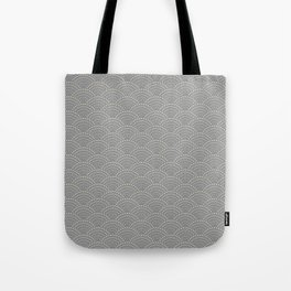 Japanese Wave Seigaiha Super Moon Grey Pattern Tote Bag