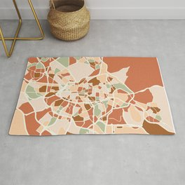 MADRID SPAIN CITY MAP EARTH TONES Rug