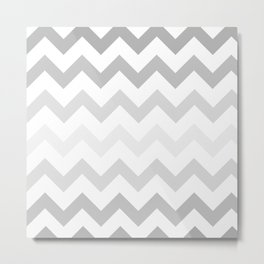 Gradient Grey Chevron on White Metal Print