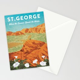 St George, Utah - Vintage Style Travel Poster Stationery Cards