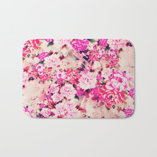 Elegant Pink Chic Floral Pattern Girly Peonies Bath Mat