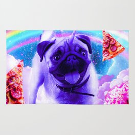 Rainbow Unicorn Pug In The Clouds In Space Rug