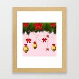 RED RIBBONS GOLD ORNAMENTS HOLIDAY PINK DESIGN ART Framed Art Print