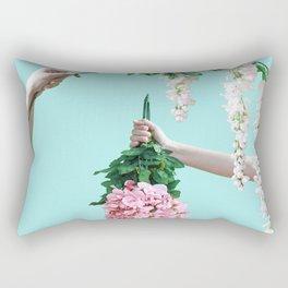 1992 Floral Episodes (Aqua) Rectangular Pillow