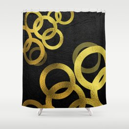 Gold Circles on Black Background Minimalist Design Shower Curtain