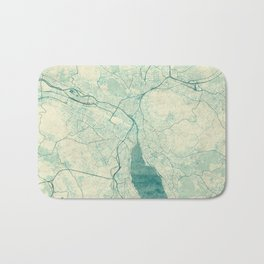 Zurich Map Blue Vintage Bath Mat
