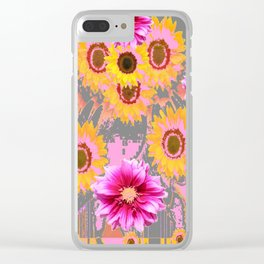 YELLOW SUNFLOWERS & PURPLE DAHLIAS GREY ABSTRACT Clear iPhone Case