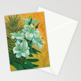 White Lilies and Palm Leaf Stationery Cards