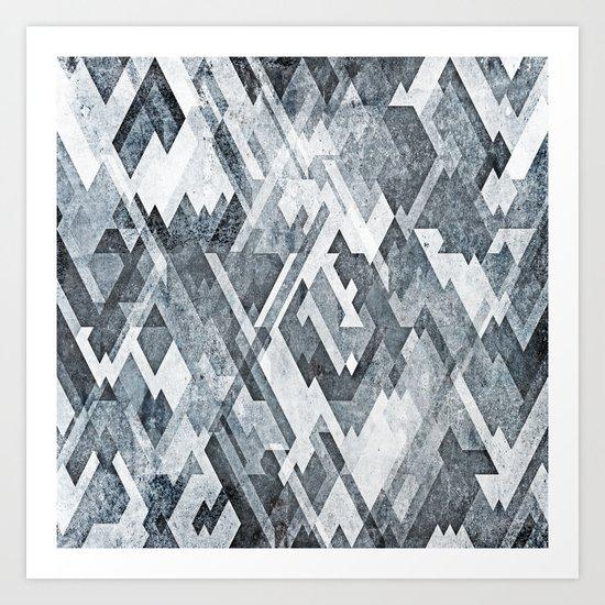 zig zag black and white Art Print