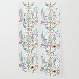 Santa Fe Garden – Turquoise & Brown Wallpaper