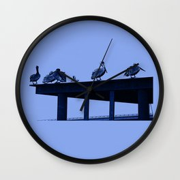 Blue Pelicans Wall Clock