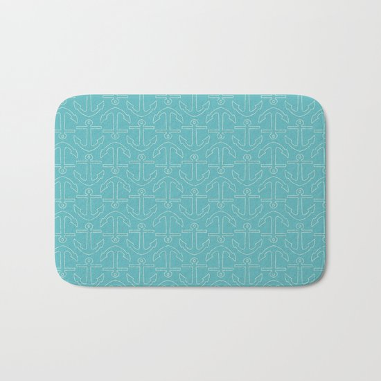 Beach Series Aqua - White Anchors on turquoise background on #Society6 Bath Mat