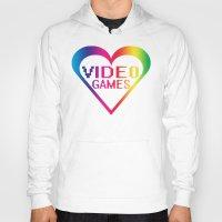 video games Hoodies featuring love video games by seb mcnulty