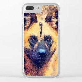 african wild dog #wilddog #animals Clear iPhone Case