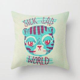 sick sad tiger Throw Pillow