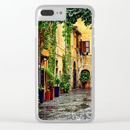 Vintage street in Rome, after Rain Clear iPhone Case