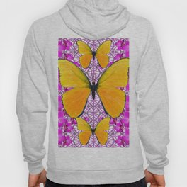FUCHSIA COLORED  ORCHIDS &  YELLOW  BUTTERFLY FLORAL Hoody