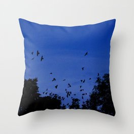 Night flight of the birds in the forest Throw Pillow