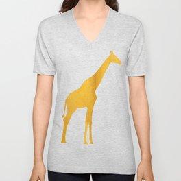 Giraffe Silhouette in Bold Gold Unisex V-Neck