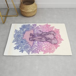 Cute Baby Elephant in pink, purple & blue Rug