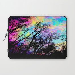 Black Trees Colorful space. Laptop Sleeve