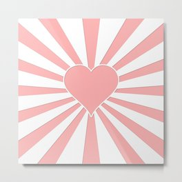 Pink Coral Valentine Love Heart Explosion Metal Print