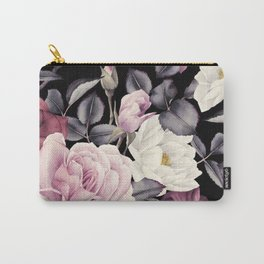 Pinky purple Medley of Roses, Peony and Leaves Carry-All Pouch