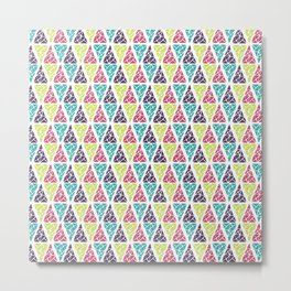 Geometrical pink lime abstract triangles pattern Metal Print