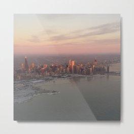 Icy Chicago Skyline at Sunrise Metal Print