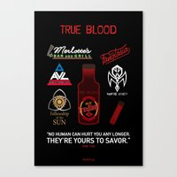true blood Canvas Prints featuring True Blood Logos by CLM Design