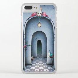 cover with arches in a large hall with a rabbit's head and chess  2 Clear iPhone Case