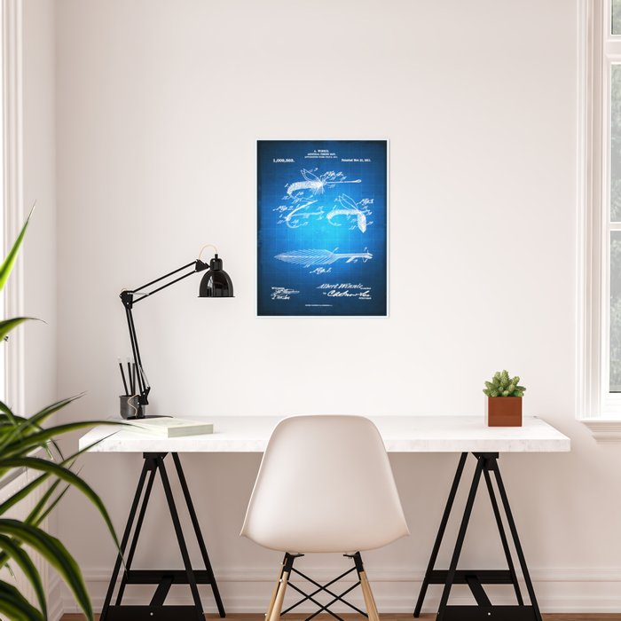 Fly Fishing Bait Patent Blueprint Drawing Poster