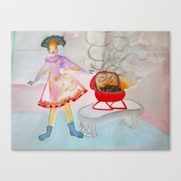 Girl in Sock Feet with Barbecue Canvas Print